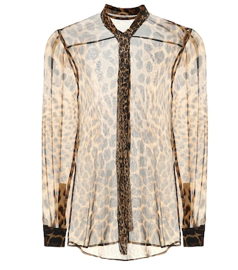 Saint Laurent - Printed silk blouse - mytheresa.com