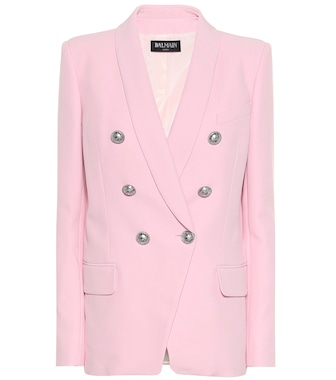 Balmain - Crêpe double-breasted blazer - mytheresa.com