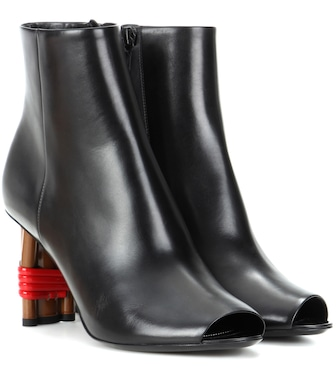 Balenciaga - Bistrot leather peep-toe ankle boots - mytheresa.com