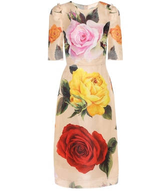 Dolce & Gabbana - Printed stretch-silk midi dress - mytheresa.com