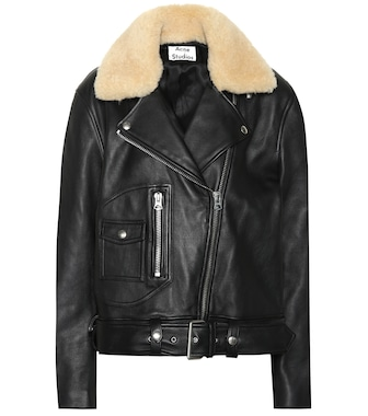 Acne Studios - Shearling-trimmed leather jacket - mytheresa.com