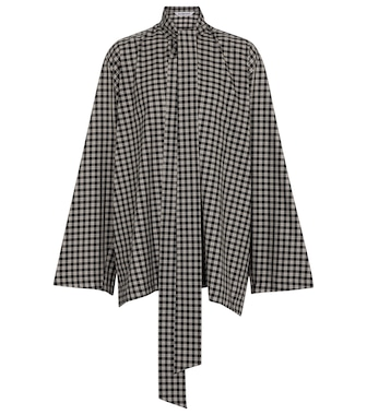 Balenciaga - Oversized checked cotton-blend blouse - mytheresa.com