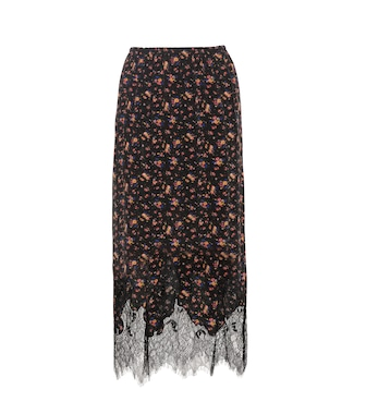 McQ Alexander McQueen - Printed silk skirt with lace - mytheresa.com