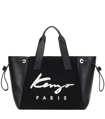 Kenzo - Essential Large printed canvas and leather tote - mytheresa.com