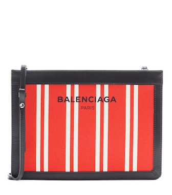 Balenciaga - Navy canvas and leather shoulder bag - mytheresa.com