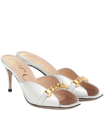 Gucci - Metallic leather sandals - mytheresa.com