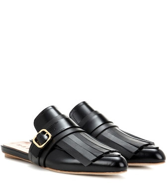 Marni - Fringed leather slippers - mytheresa.com