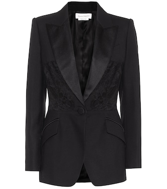 Alexander McQueen - Lace-trimmed wool and silk blazer - mytheresa.com