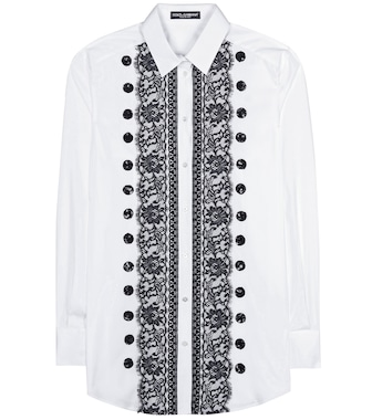 Dolce & Gabbana - Lace-trimmed cotton shirt - mytheresa.com