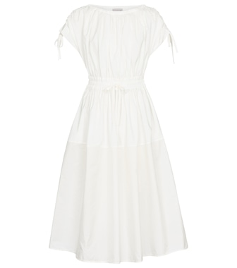 Moncler - Cotton gabardine and nylon midi dress - mytheresa.com