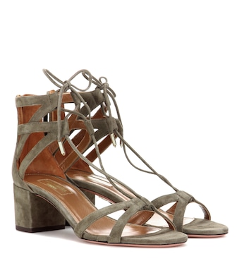 Aquazzura - Beverly Hills 50 suede sandals - mytheresa.com