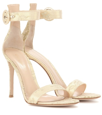 Gianvito Rossi - Portofino 105 leather and lace sandals - mytheresa.com
