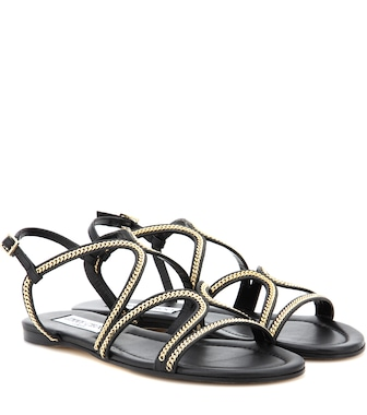 Jimmy Choo - Nickel Flat embellished leather sandals - mytheresa.com