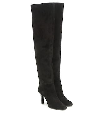 Saint Laurent - Jane 90 suede over-the-knee boots - mytheresa.com