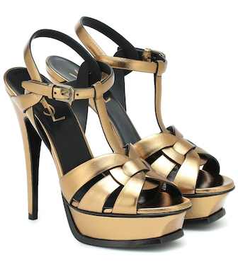 Saint Laurent - Tribute 135 leather platform sandals - mytheresa.com