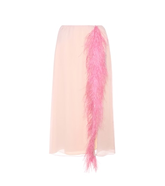 Prada - Feather-trimmed silk skirt - mytheresa.com