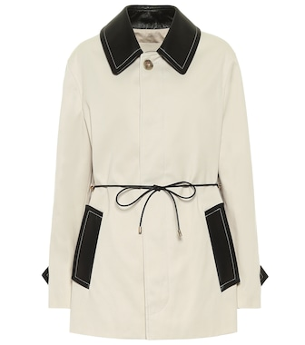 Tod's - Leather-trimmed gabardine coat - mytheresa.com