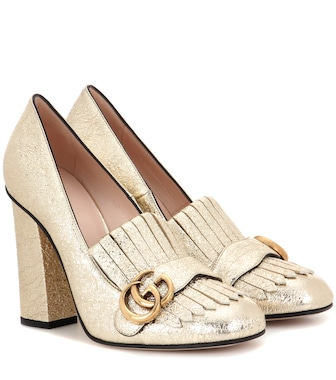 Gucci - Metallic leather loafer pumps - mytheresa.com