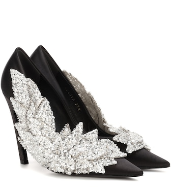 Balenciaga - Embellished satin pumps - mytheresa.com