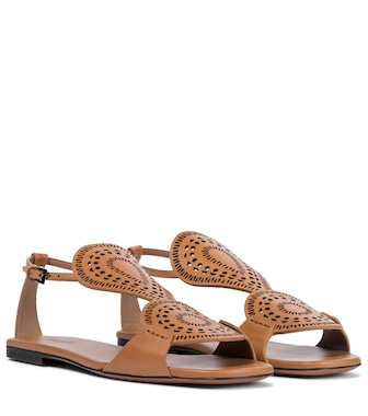 Alaïa - Laser-cut leather sandals - mytheresa.com