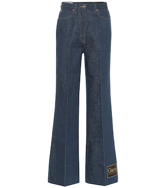 Gucci - High-rise cotton-denim flared jeans - mytheresa.com
