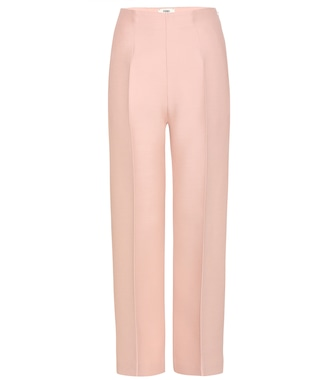 Fendi - Cropped wool and silk-blend gazar wide-leg pants - mytheresa.com