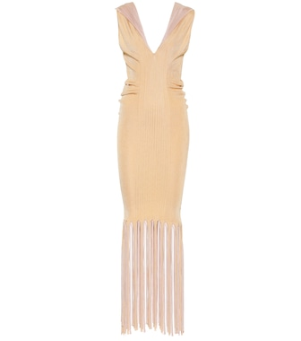 Bottega Veneta - Fringed ribbed-knit midi dress - mytheresa.com