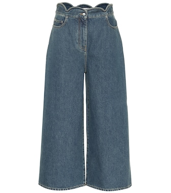 Valentino - Scalloped denim culottes - mytheresa.com