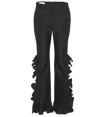 Gucci - Ruffled wool and mohair trousers - mytheresa.com