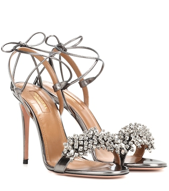Aquazzura - Monaco 105 patent leather sandals - mytheresa.com