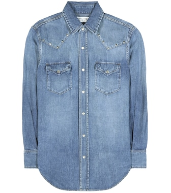 Saint Laurent - Embellished denim shirt - mytheresa.com