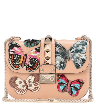 Valentino - Valentino Garavani beaded leather shoulder bag - mytheresa.com