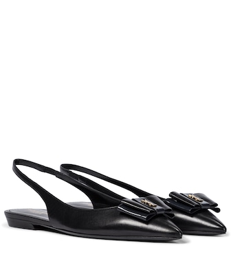 Saint Laurent - Leather slingback ballet flats - mytheresa.com