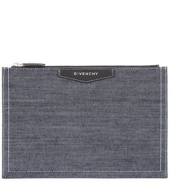 Givenchy - Antigona denim and leather clutch - mytheresa.com