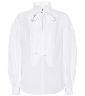 Burberry - Tie-neck cotton blouse - mytheresa.com