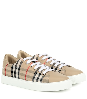 Burberry - Check leather-trimmed sneakers - mytheresa.com
