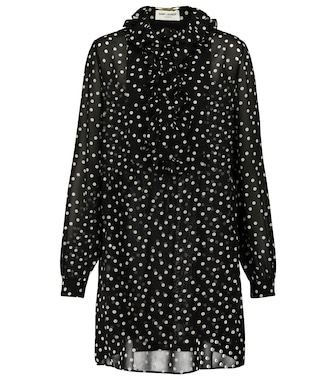 Saint Laurent - Polka-dot silk mousseline minidress - mytheresa.com