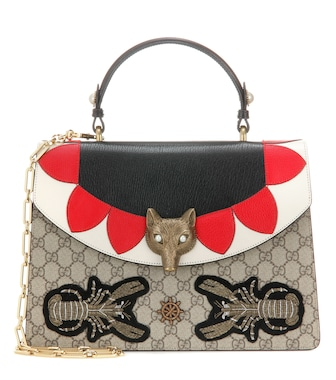 Gucci - Broche GG Supreme leather shoulder bag - mytheresa.com