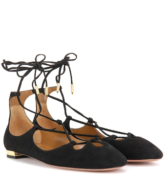 Aquazzura - Dancer Flat lace-up suede ballerinas - mytheresa.com