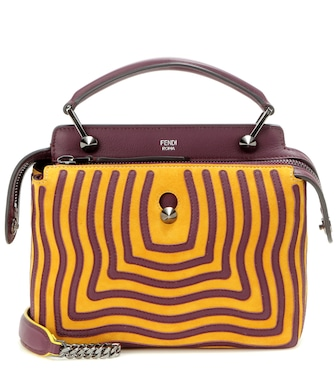 Fendi - DotCom suede and leather shoulder bag - mytheresa.com