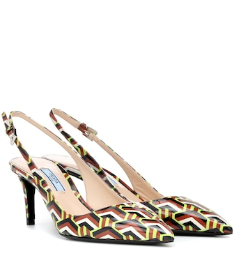 Prada - Printed leather slingback pumps - mytheresa.com