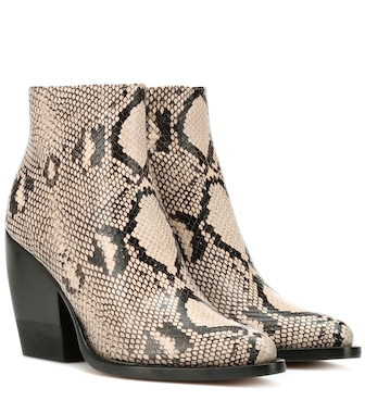 Chloé - Rylee embossed leather boots - mytheresa.com