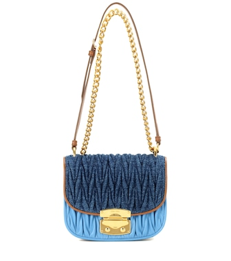 Miu Miu - Denim and leather shoulder bag - mytheresa.com