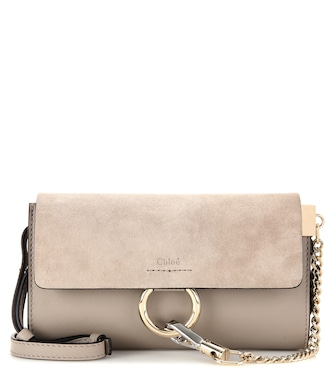 Chloé - Faye Mini leather and suede wallet bag - mytheresa.com