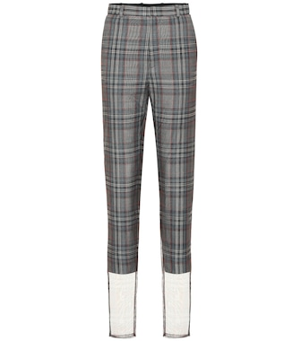 Y/PROJECT - Checked wool-blend high-rise pants - mytheresa.com