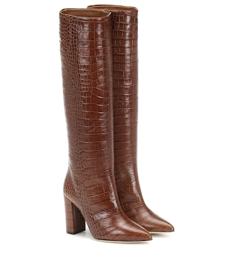 Paris Texas - Croc-effect leather knee-high boots - mytheresa.com