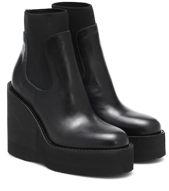 Sacai - Leather platform ankle boots - mytheresa.com