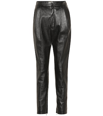 Saint Laurent - High-rise leather straight pants - mytheresa.com