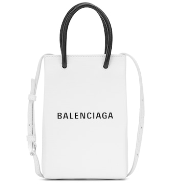 Balenciaga - Shopping Phone Pouch leather tote - mytheresa.com