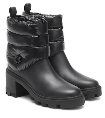 Moncler - Camille leather and down ankle boots - mytheresa.com